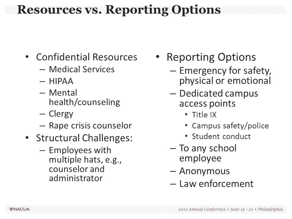 Resources vs. Reporting Options