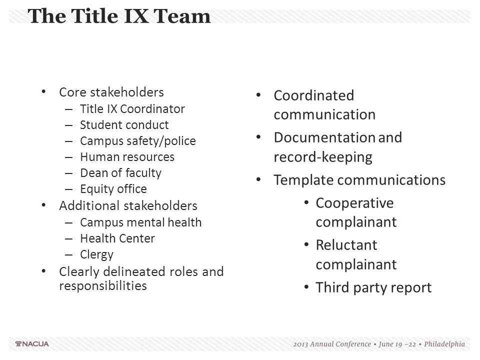 The Title IX Team Coordinated communication