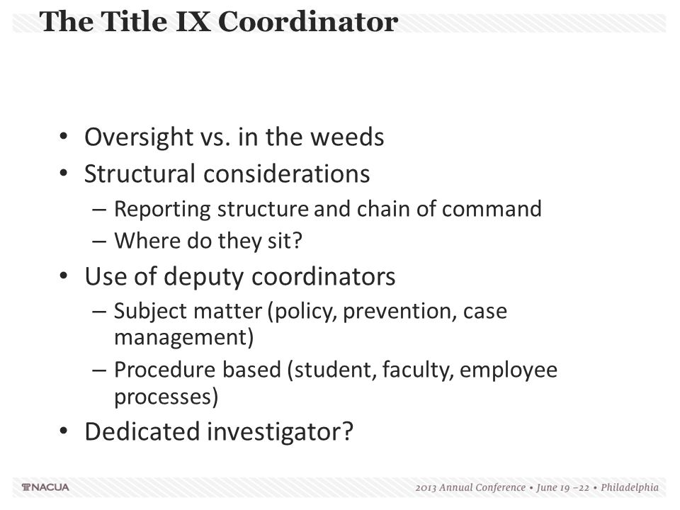 The Title IX Coordinator