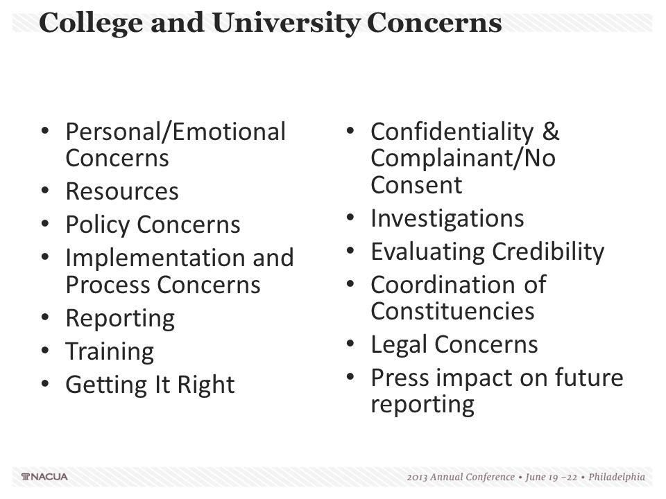 College and University Concerns