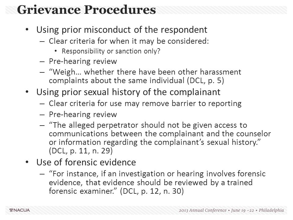 Grievance Procedures Using prior misconduct of the respondent