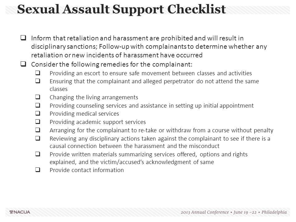 Sexual Assault Support Checklist