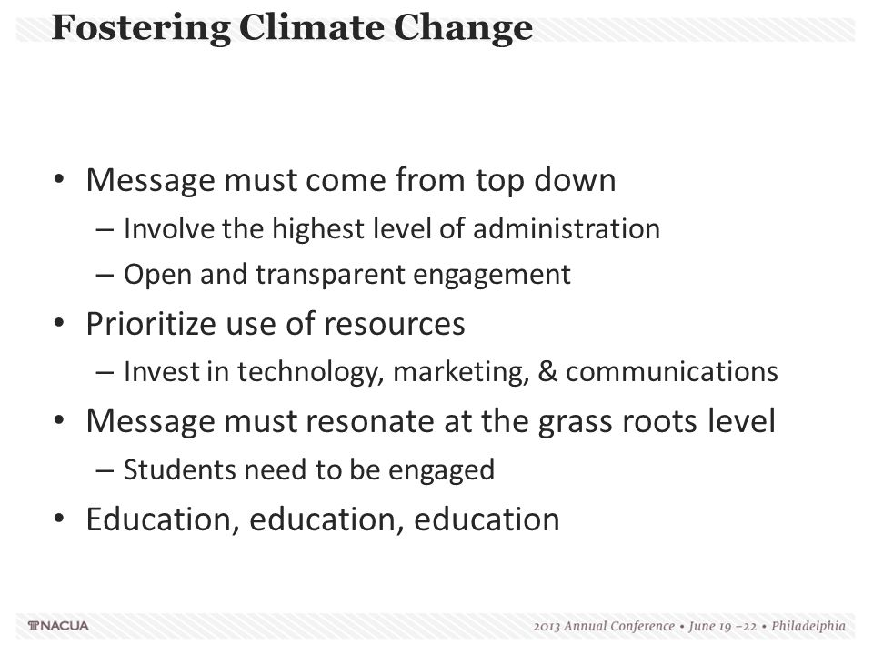 Fostering Climate Change