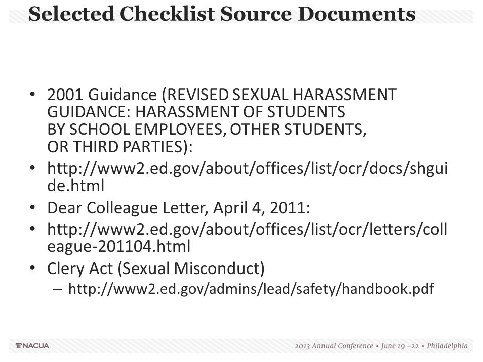 Selected Checklist Source Documents