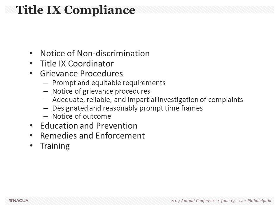 Title IX Compliance Notice of Non-discrimination Title IX Coordinator