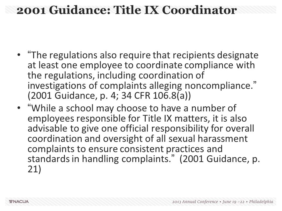 2001 Guidance: Title IX Coordinator
