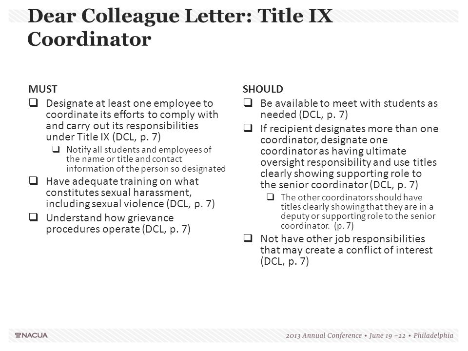 Dear Colleague Letter: Title IX Coordinator