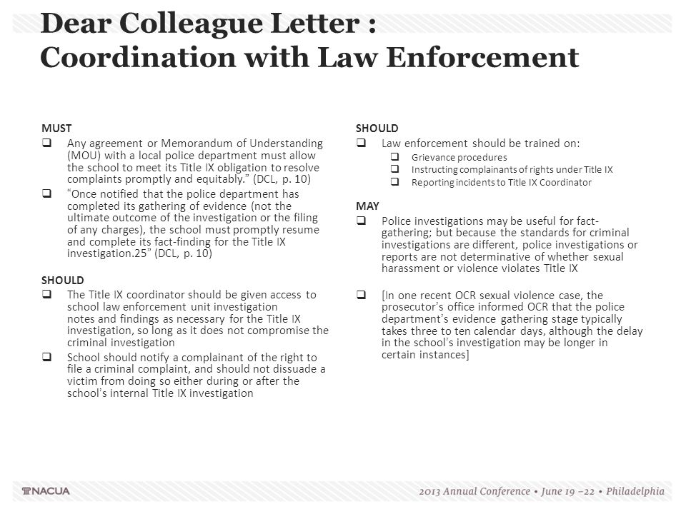 Dear Colleague Letter : Coordination with Law Enforcement