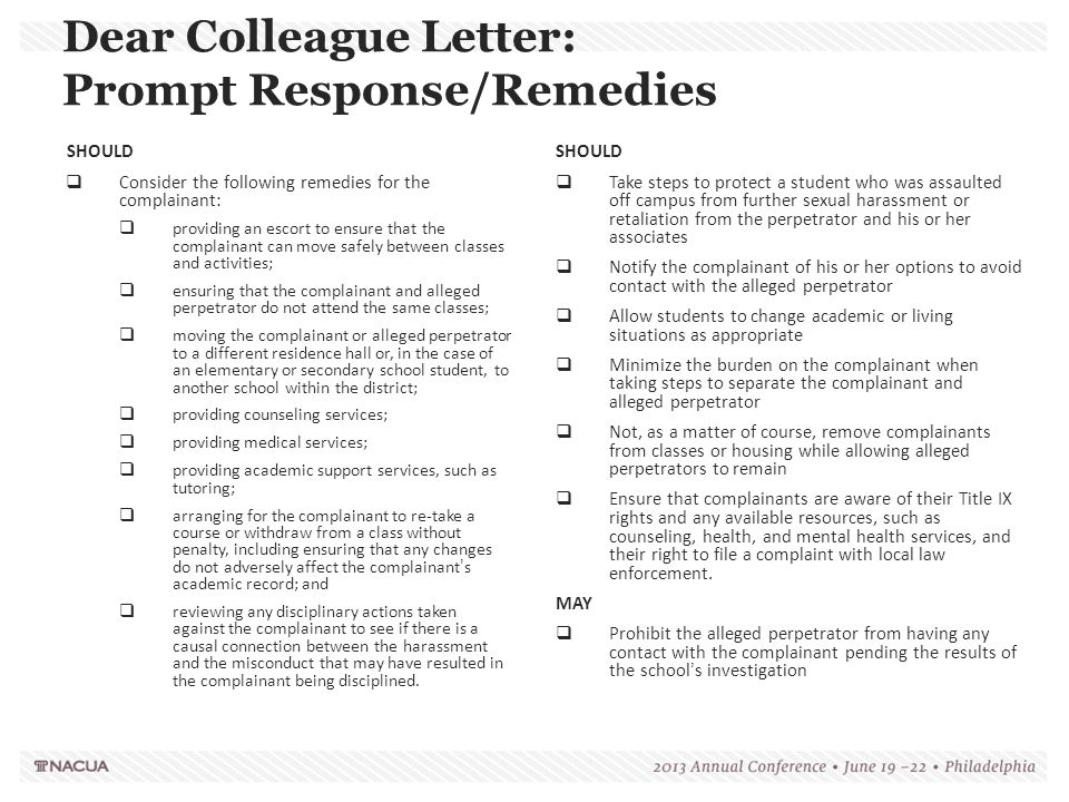 Dear Colleague Letter: Prompt Response/Remedies
