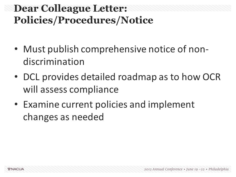 Dear Colleague Letter: Policies/Procedures/Notice