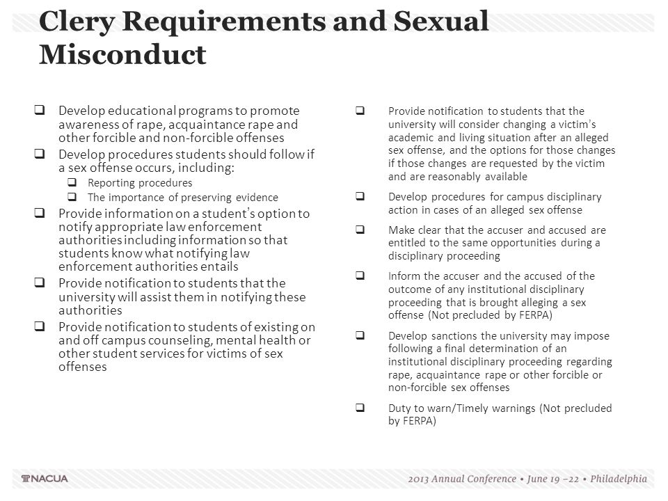 Clery Requirements and Sexual Misconduct