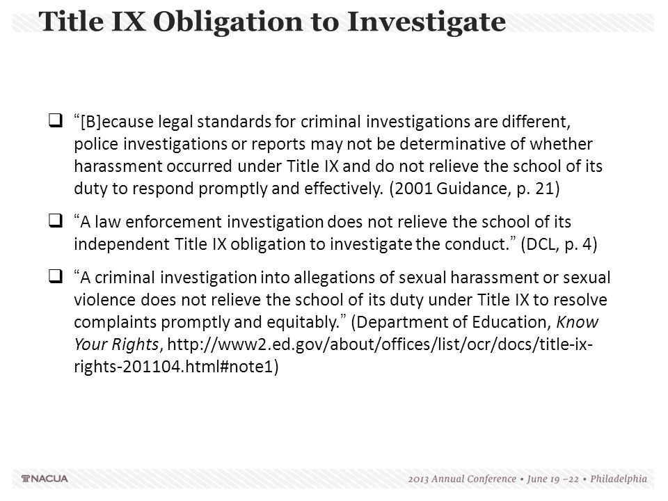 Title IX Obligation to Investigate