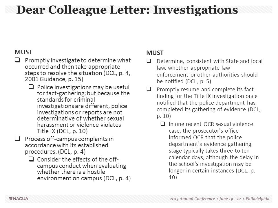 Dear Colleague Letter: Investigations