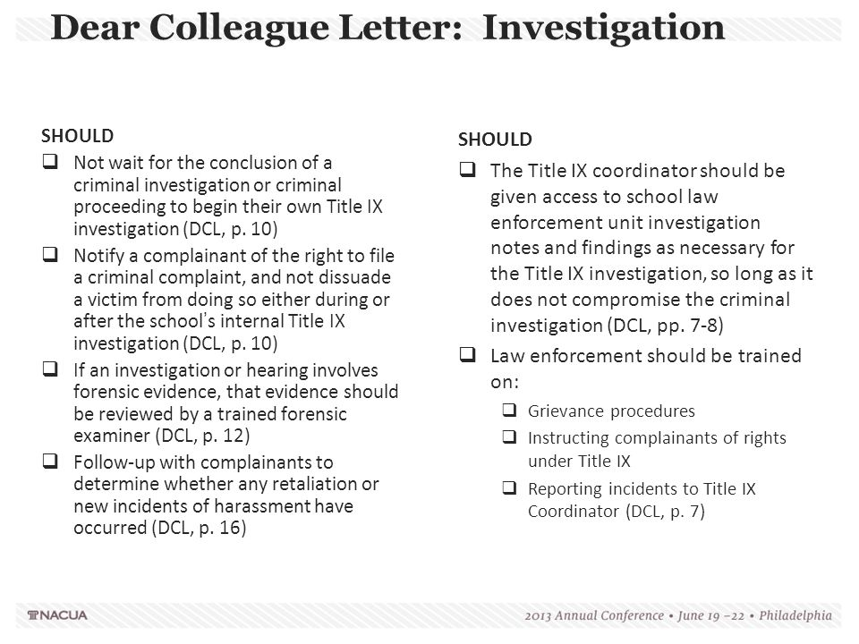 Dear Colleague Letter: Investigation