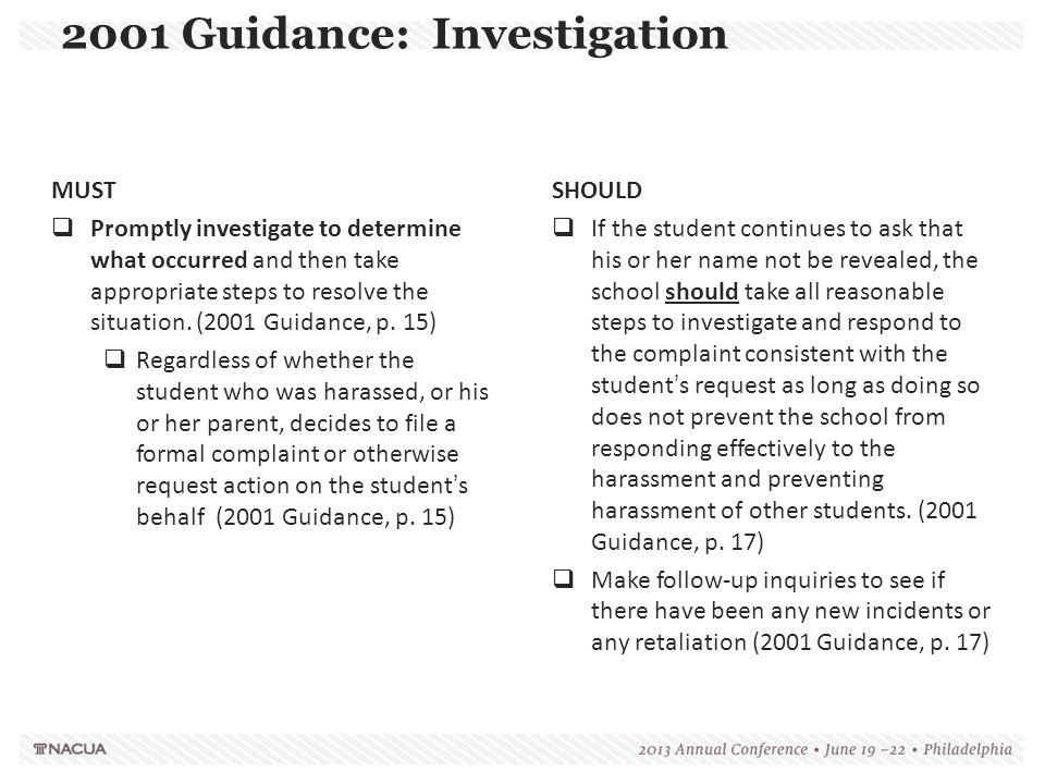 2001 Guidance: Investigation