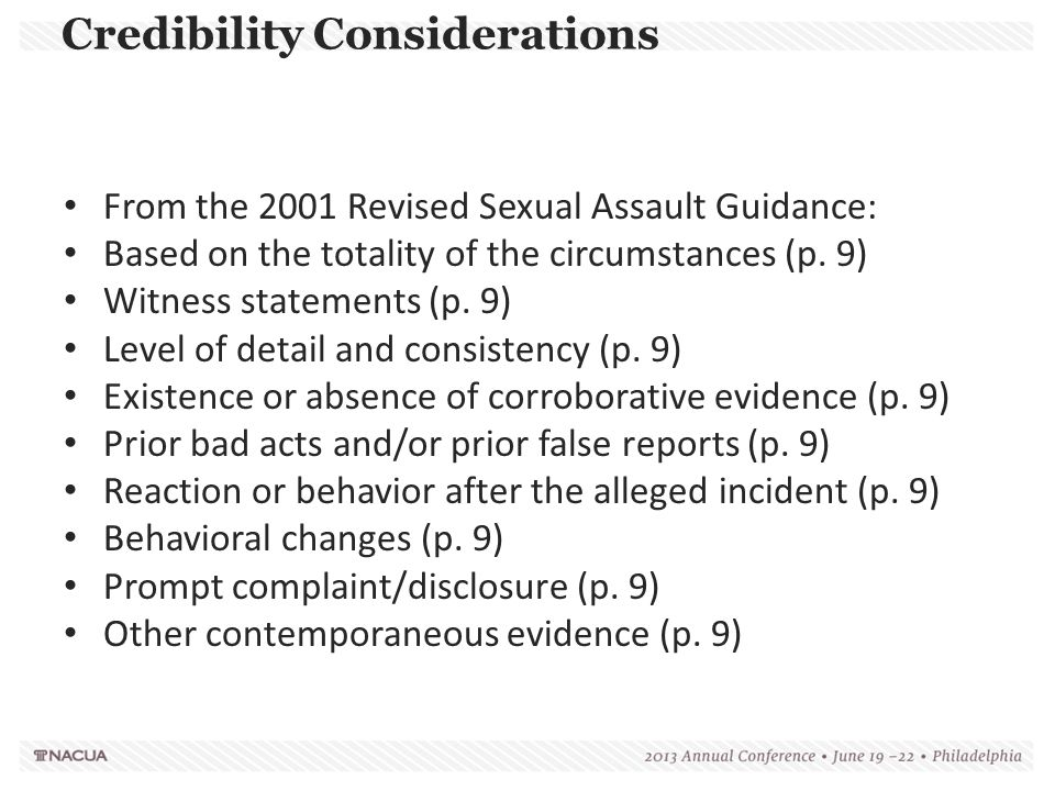 Credibility Considerations
