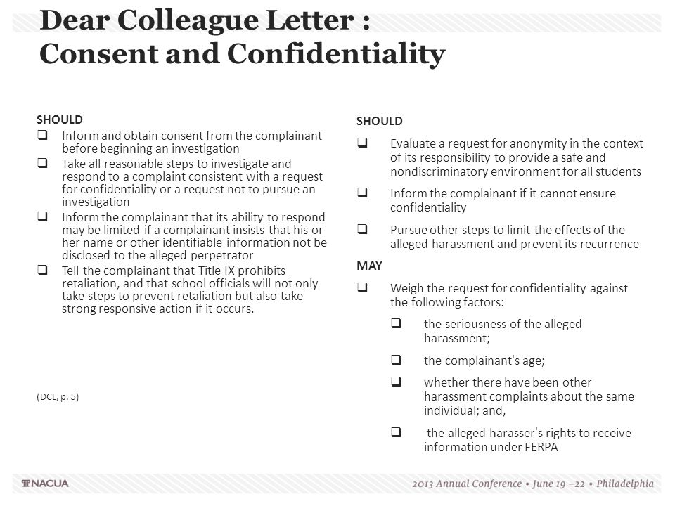 Dear Colleague Letter : Consent and Confidentiality