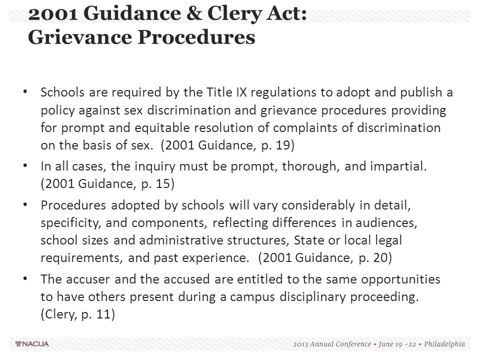 2001 Guidance & Clery Act: Grievance Procedures