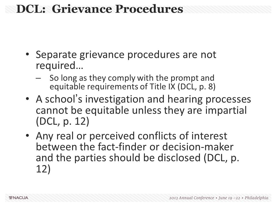 DCL: Grievance Procedures