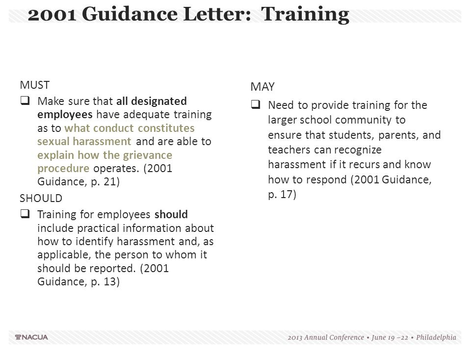 2001 Guidance Letter: Training