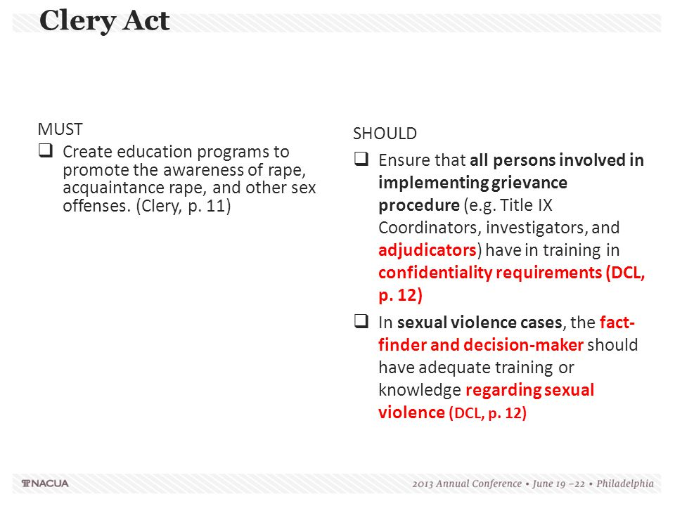 Clery Act MUST. Create education programs to promote the awareness of rape, acquaintance rape, and other sex offenses. (Clery, p. 11)