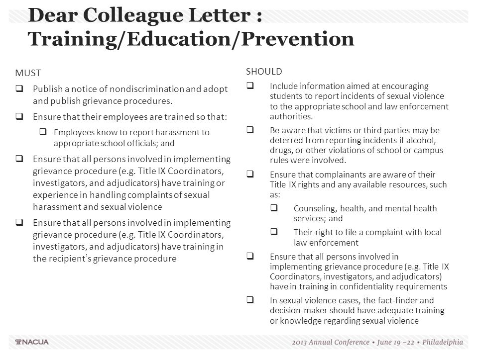 Dear Colleague Letter : Training/Education/Prevention