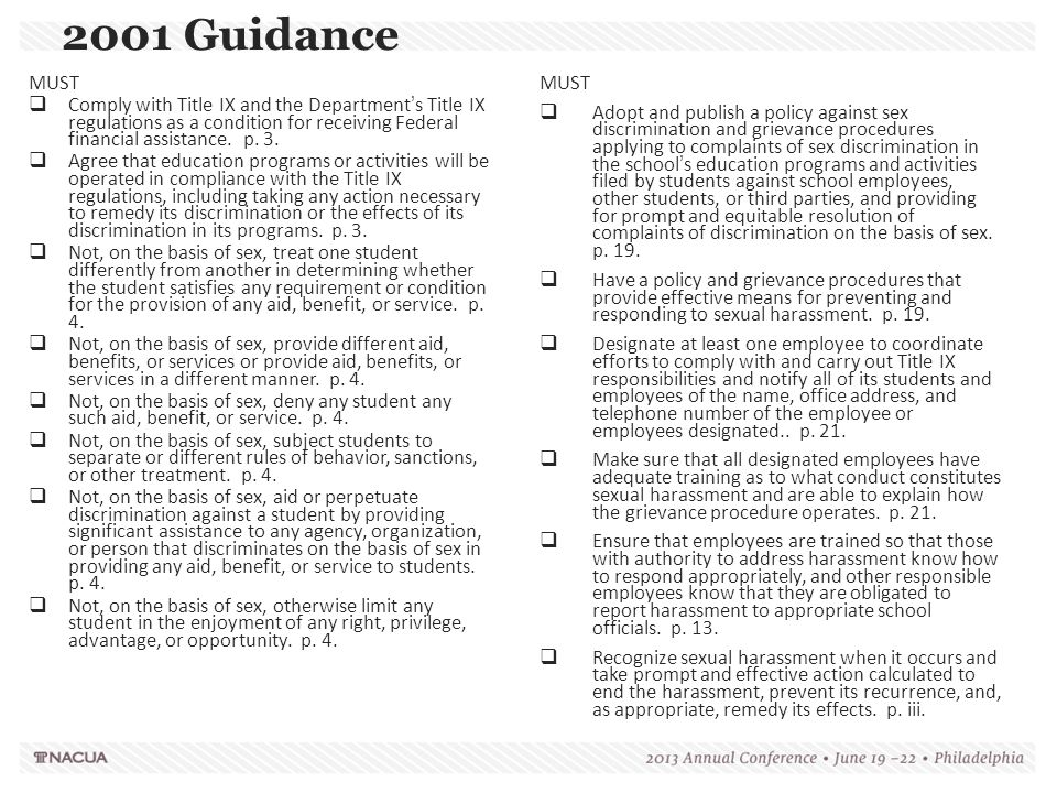 2001 Guidance MUST. Comply with Title IX and the Department's Title IX regulations as a condition for receiving Federal financial assistance. p. 3.