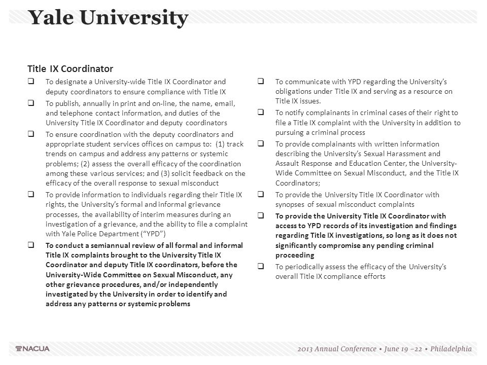 Yale University Title IX Coordinator