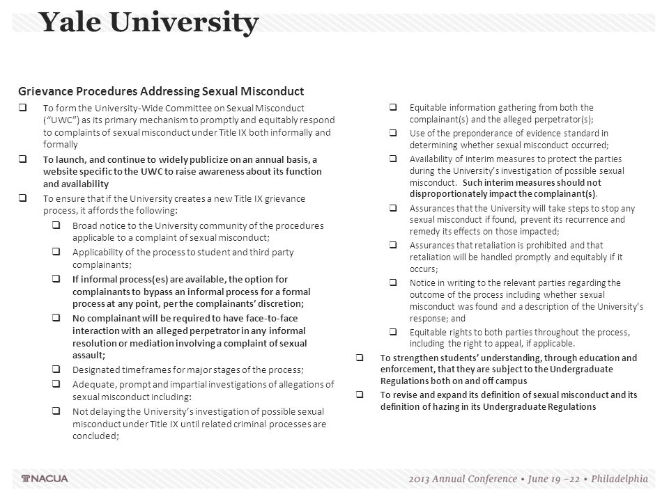 Yale University Grievance Procedures Addressing Sexual Misconduct