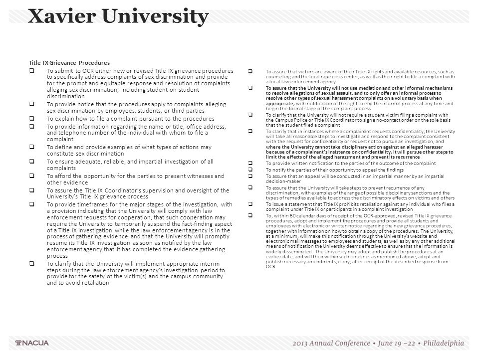 Xavier University Title IX Grievance Procedures