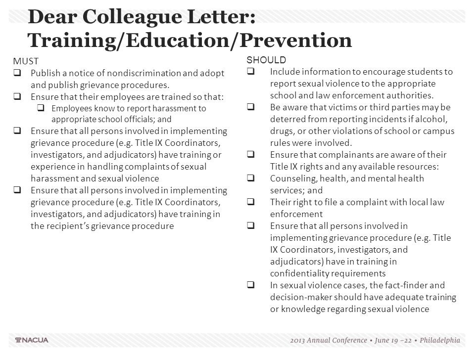 Dear Colleague Letter: Training/Education/Prevention