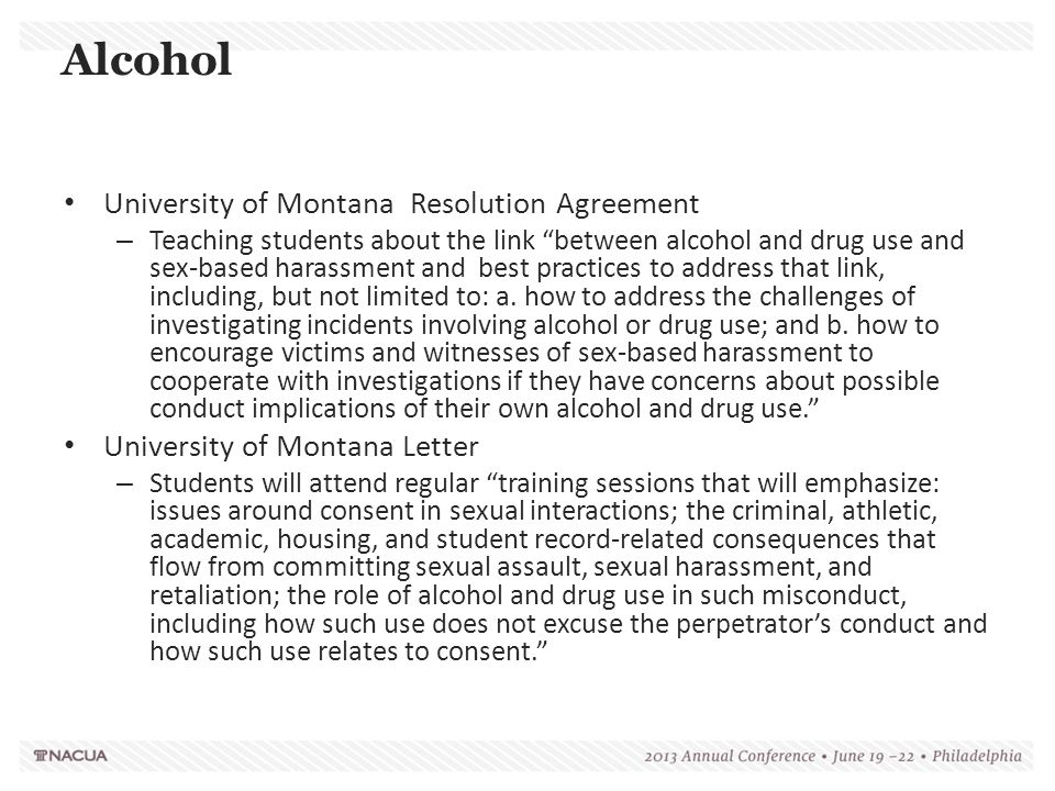 Alcohol University of Montana Resolution Agreement