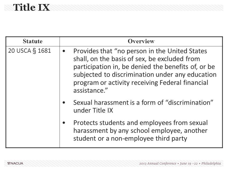 Title IX Statute. Overview. 20 USCA § 1681.