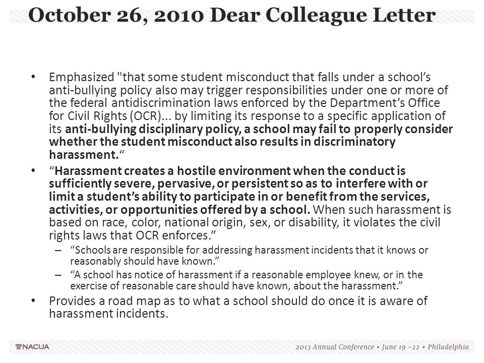 October 26, 2010 Dear Colleague Letter