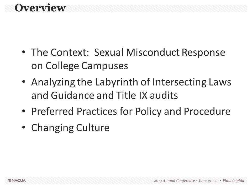 The Context: Sexual Misconduct Response on College Campuses