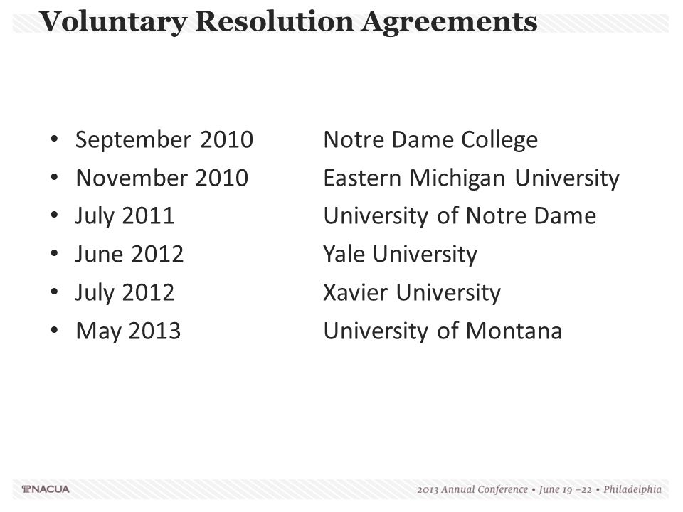 Voluntary Resolution Agreements