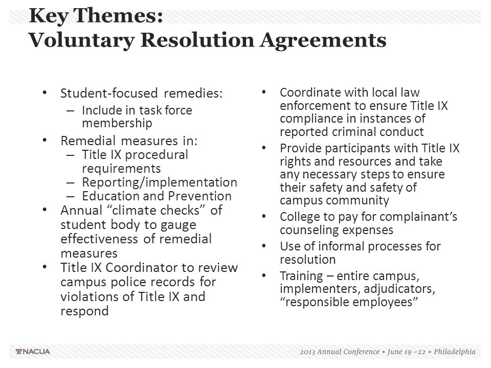 Key Themes: Voluntary Resolution Agreements