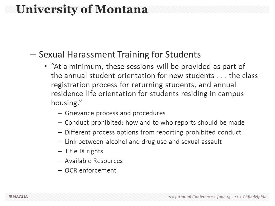 University of Montana Sexual Harassment Training for Students