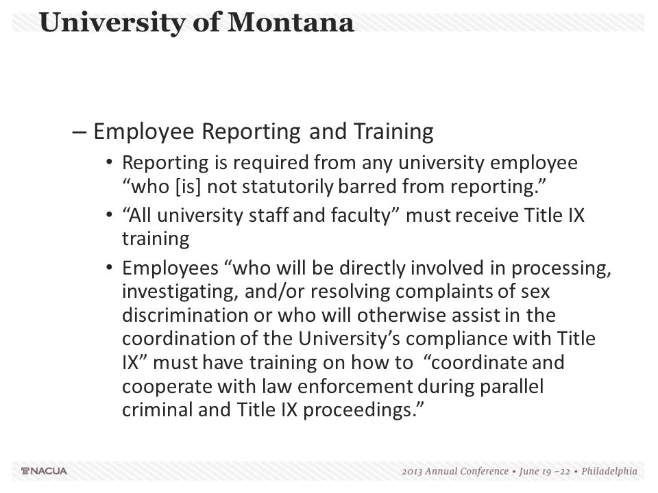 University of Montana Employee Reporting and Training
