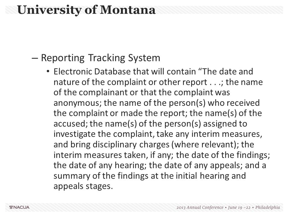 University of Montana Reporting Tracking System