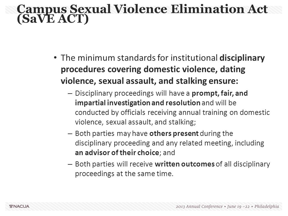 Campus Sexual Violence Elimination Act (SaVE ACT)