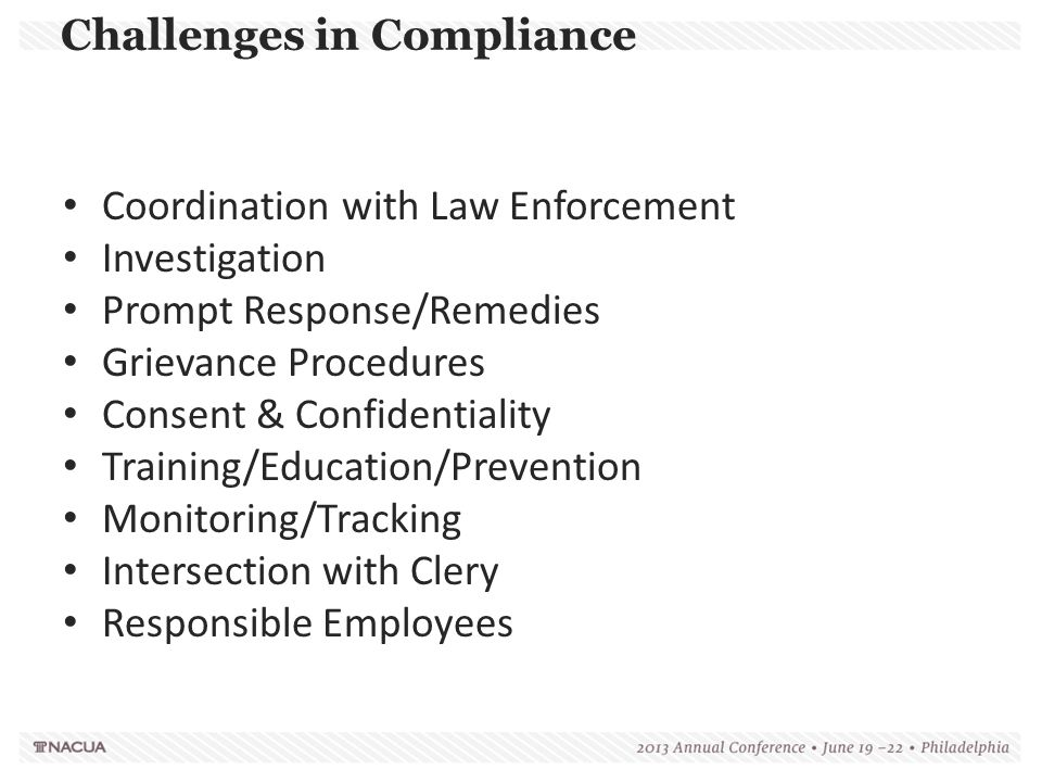 Challenges in Compliance