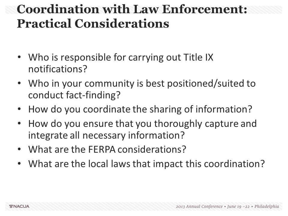 Coordination with Law Enforcement: Practical Considerations
