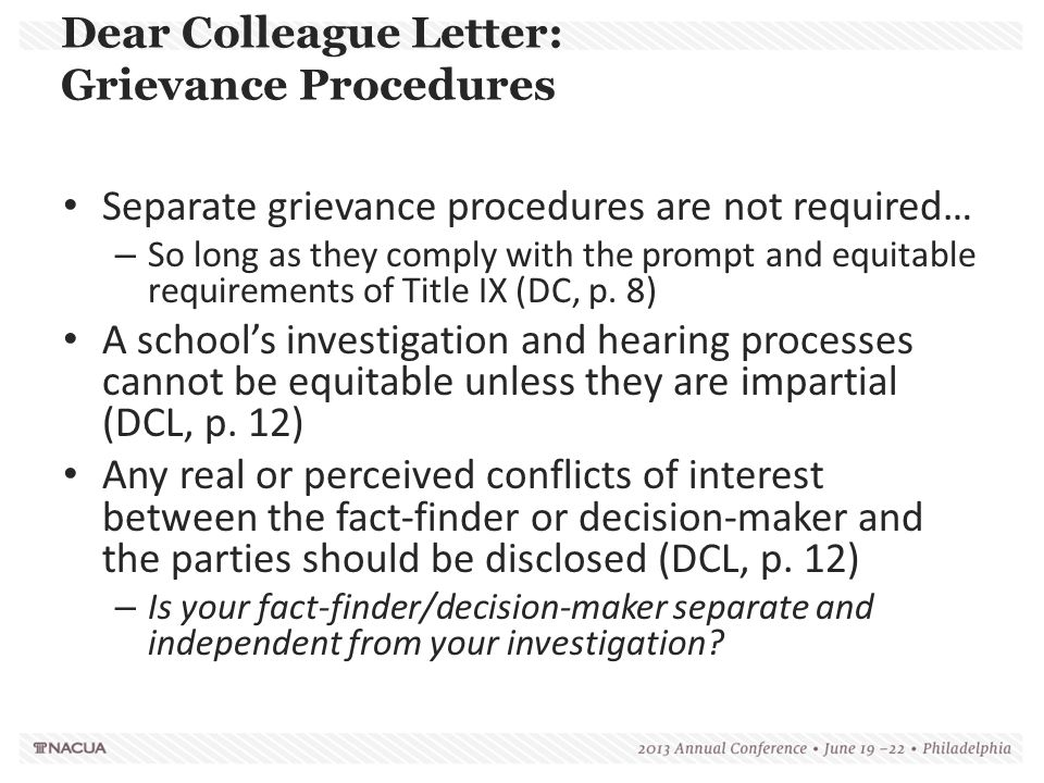 Dear Colleague Letter: Grievance Procedures