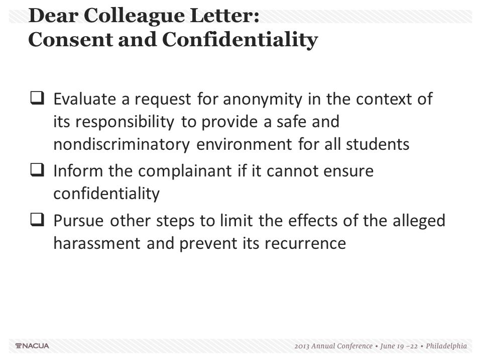 Dear Colleague Letter: Consent and Confidentiality