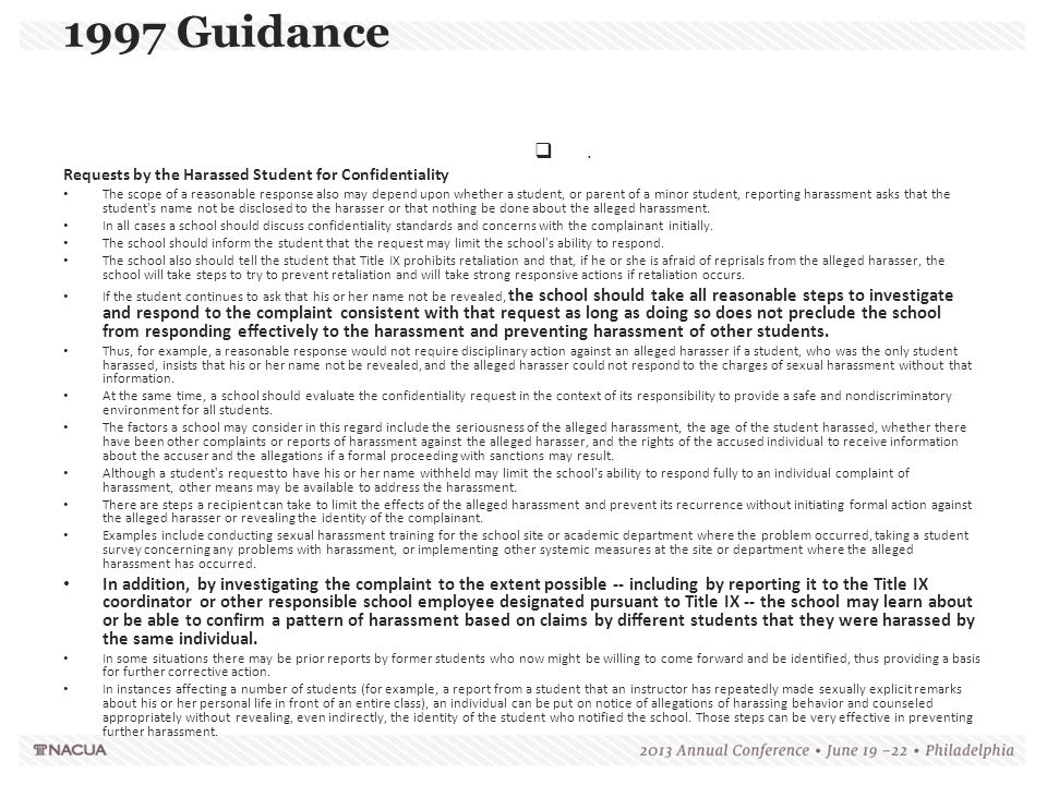 1997 Guidance . Requests by the Harassed Student for Confidentiality.