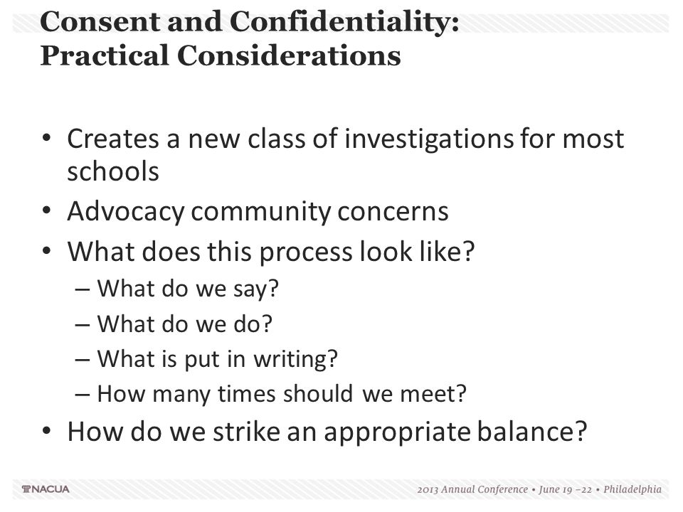 Consent and Confidentiality: Practical Considerations