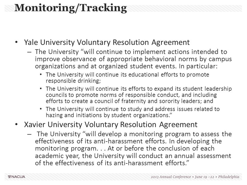 Monitoring/Tracking Yale University Voluntary Resolution Agreement