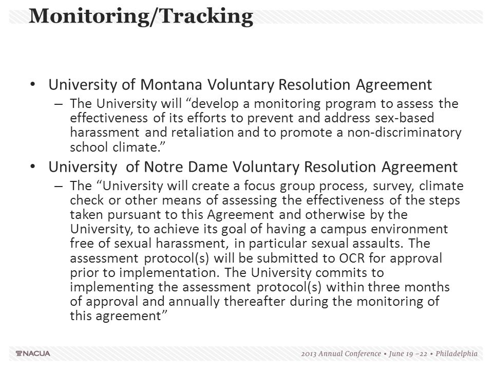 Monitoring/Tracking University of Montana Voluntary Resolution Agreement.