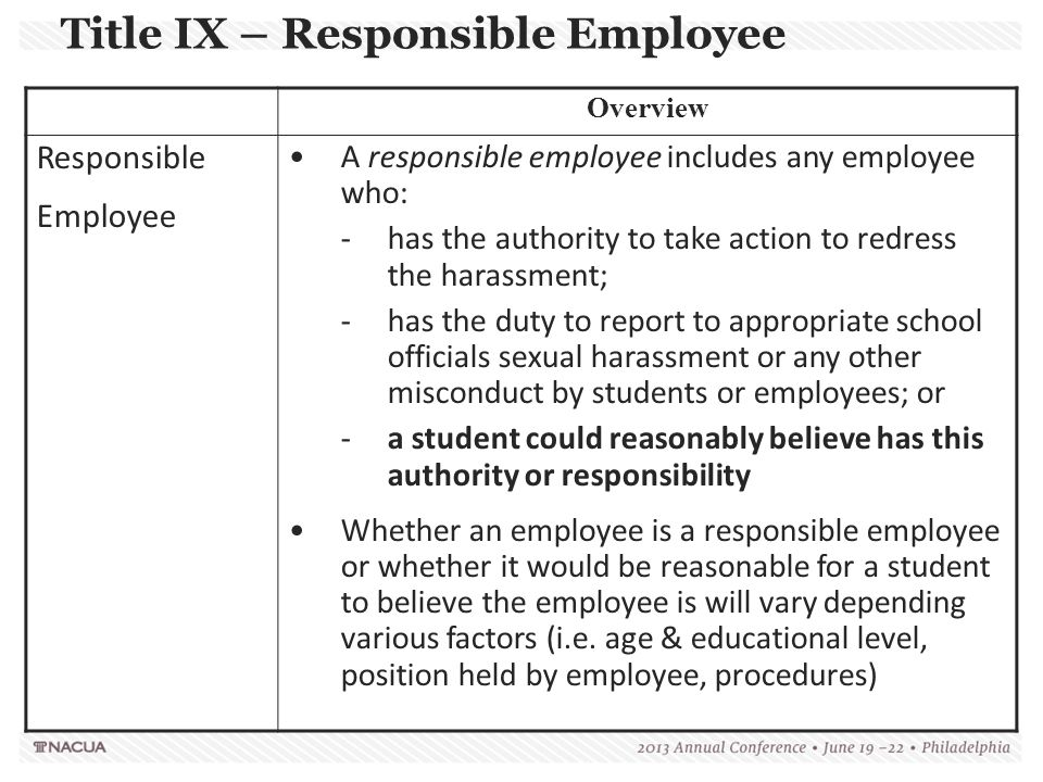Title IX – Responsible Employee